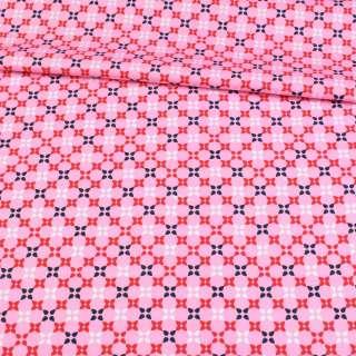 Коттон розовый, красные, белые, синие четырехлистники, ш.145