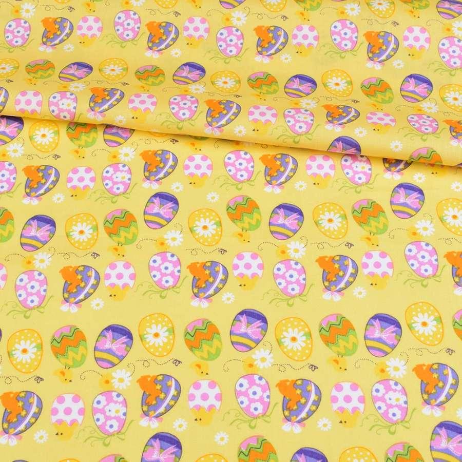 Коттон желтый, сиреневые, желтые пасхальные яйца, ш.146