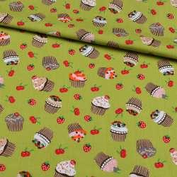 Коттон зеленый, ягоды, пирожные, ш.148