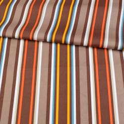 Коттон в коричневі, помаранчеві, жовті, білі смужки, ш.148
