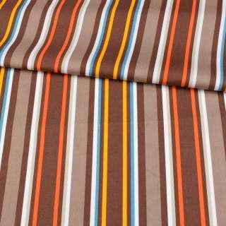 Коттон в коричневые, оранжевые, желтые, белые полоски, ш.148