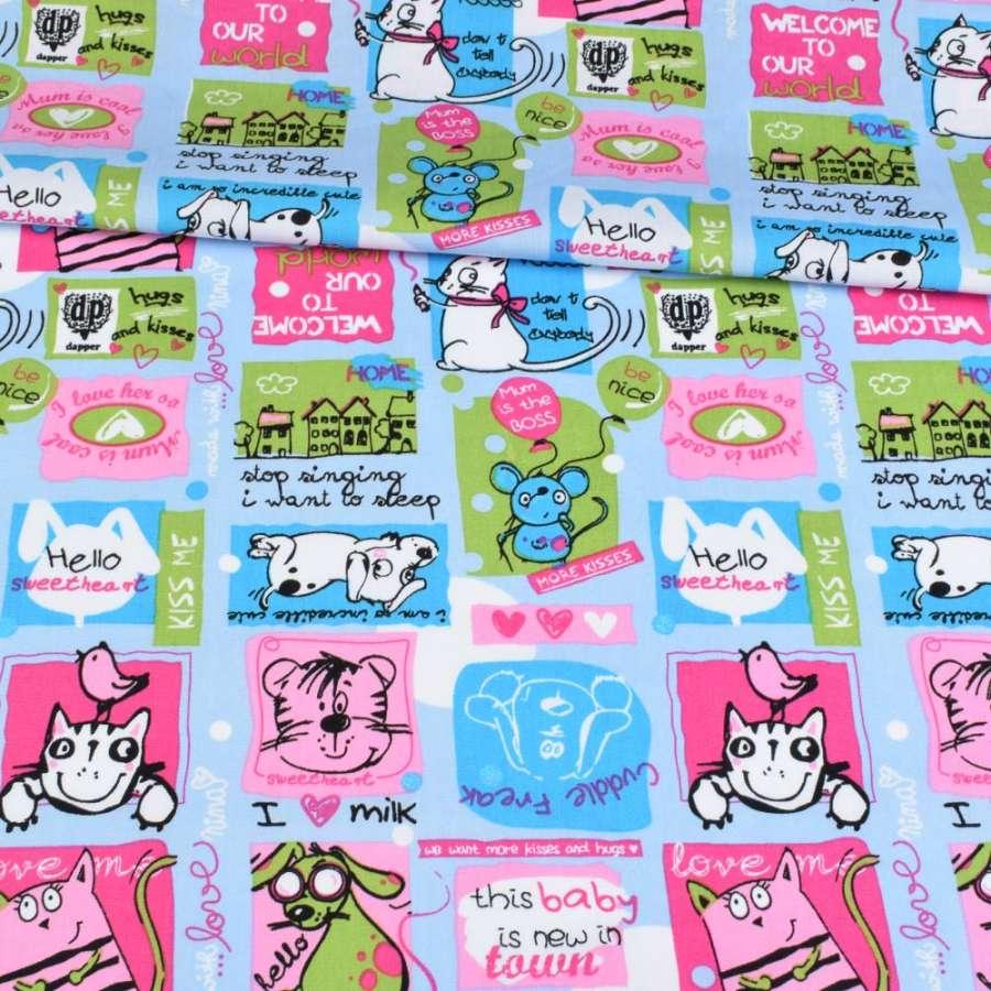 Коттон блакитний, різнокольорові кішки, мишки, собачки, ш.148