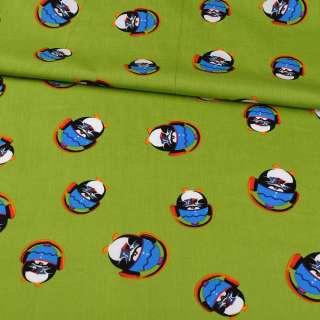 Коттон зеленый, пингвины в наушниках, ш.148
