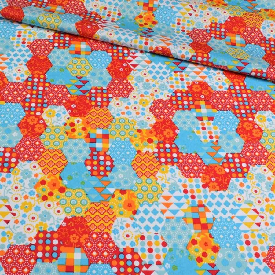 Коттон разноцветные шестиугольники пэчворк, ш.145