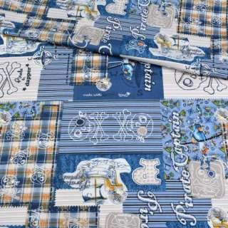 Коттон голубой в полоску, пэчворк, пираты, ш.147