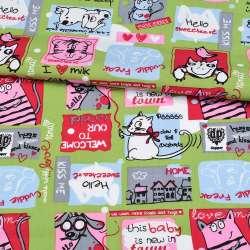 Коттон зеленый, разноцветные кошки, мышки, собачки, ш.148