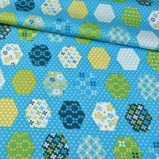 Коттон голубой, салатовые, белые, синие шестиугольники пэчворк, ш.147