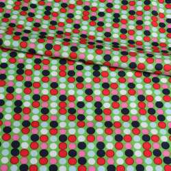 Коттон зеленый в розовый, синий, белый горох, ш.145