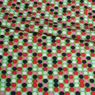 Коттон зелений в рожевий, синій, білий горох, ш.145