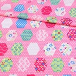 Коттон розовый, салатовые, белые, синие шестиугольники пэчворк, ш.148