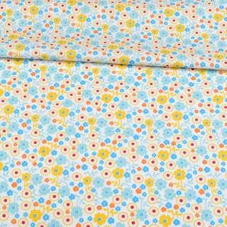 Коттон білий, блакитні, жовті, сині квіти, ш.143