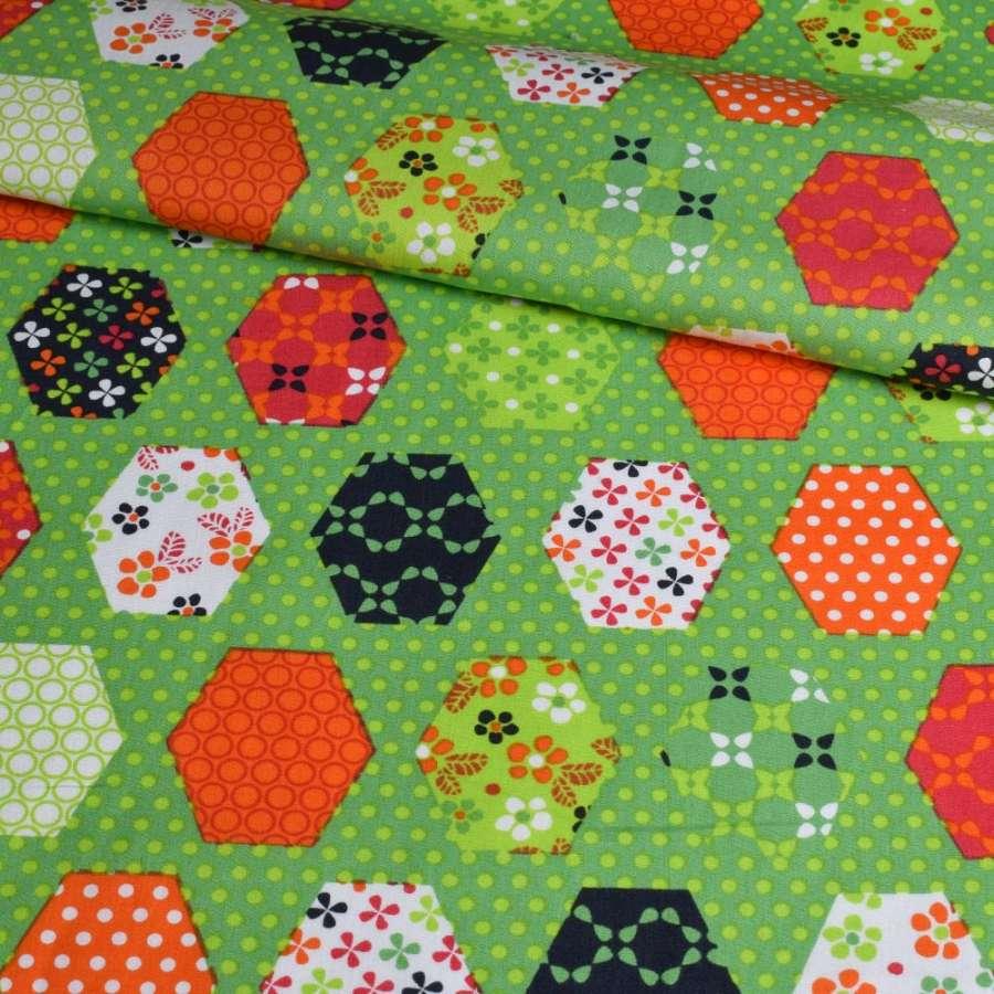 Коттон зеленый, оранжевые, синие, белые шестиугольники пэчворк, ш.148
