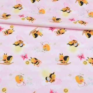 Коттон розовый с пчелками, ш.140