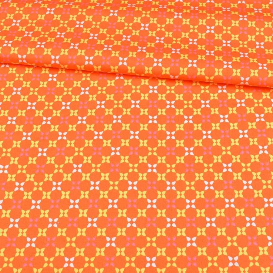 Коттон оранжевый, желтые, белые, розовые четырехлистники, ш.145