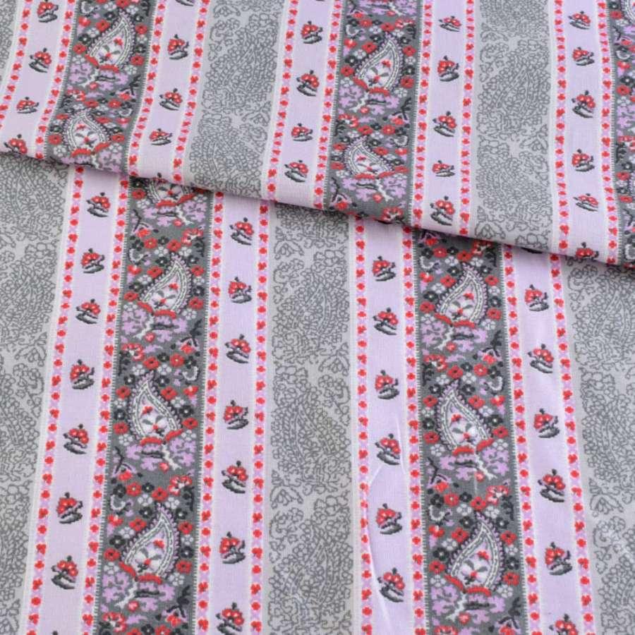 Коттон сиреневый с розово-серым орнаментом, ш.143