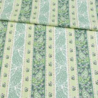 Коттон салатовый с молочно-зеленым орнаментом, ш.146
