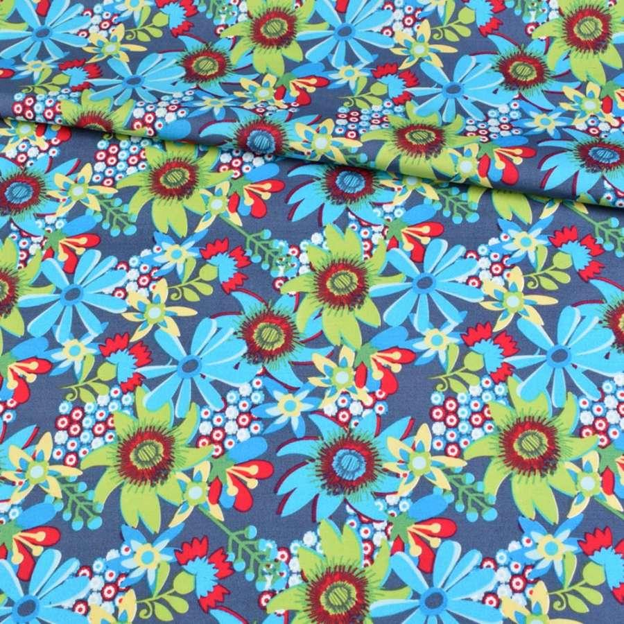 Коттон синий в голубые, зеленые цветы, ш.148
