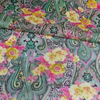 Коттон молочный, желто-розовые цветы, зеленые огурцы, ш.140