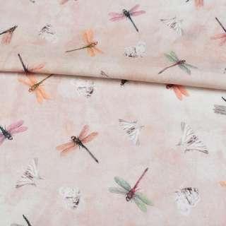 Коттон розовый в розовые и желтые стрекозы ш.145