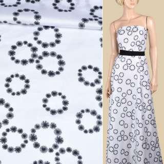Коттон атласный белый в черные венки из одуванчиков ш.145
