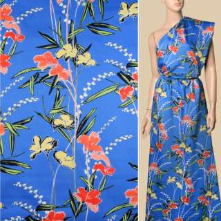 Коттон синий, кремовые, красно-оранжевые цветы, ш.140