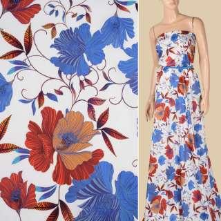 Коттон білий, сині, оранжево-жовті квіти, ш.145