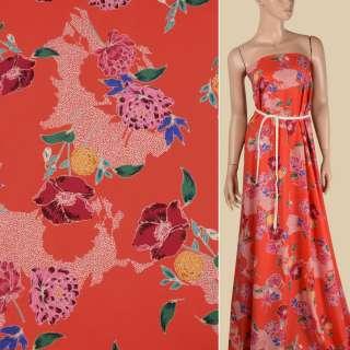 Коттон красный в желтые, розовые, бордовые цветы, ш.150