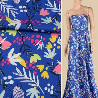 Коттон синий, розовые бабочки, жуки, белые, желтые цветы, ш.147