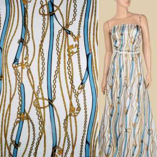 Коттон белый, синие ремни, золотистые шнуры, цепи, ш.143