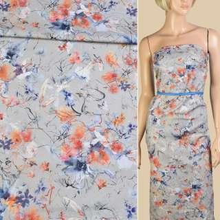 Коттон стрейч серый в акварельные бело-синие цветы ш.133