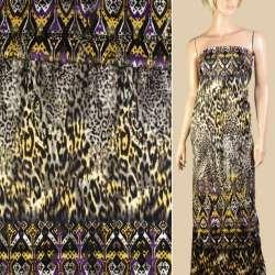 Коттон атласный черный в желто-фиолетовый орнамент раппорт 90см, ш.150