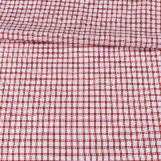 Коттон жаккардовый белый в красную клетку ш.145