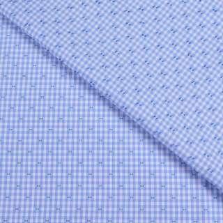 Коттон жаккардовый  белый в голубую клетку  и штрихи ш.147