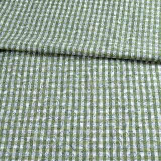 Коттон белый в зеленую клетку и огурцы ш.145