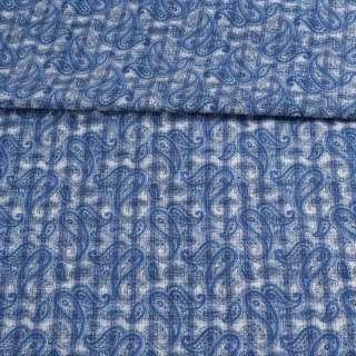 Коттон белый в синюю клетку и огурцы ш.150