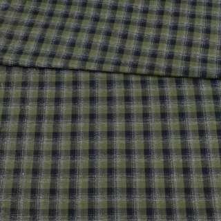 Коттон зеленый в черно-белую клетку ш.150