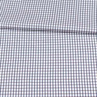 Коттон белый в коричнево-синюю клетку ш.150