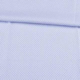 Котон білий в невеликий блакитний візерунок ш.150