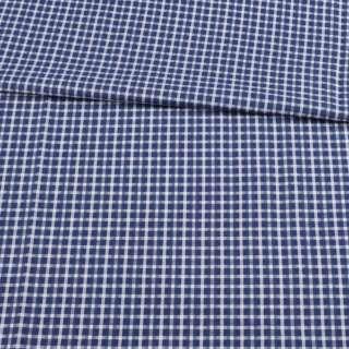 Котон жакардовий синій в білу клітинку ш.150