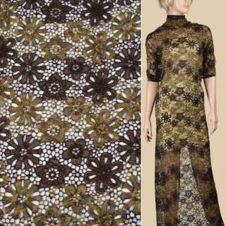Кружево шерстяное коричневое+меланж, ш.107
