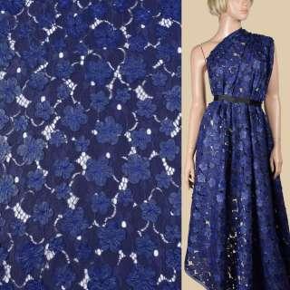 Кружево с кожаными апликациями цветы синее ш.145
