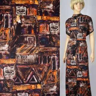 Мікролайкра принт коричнево-рудо-черая абстракція ш.140