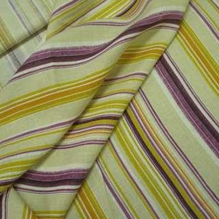 Льон бежевий в кольорову смужку