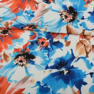 Льон білий, синьо-блакитні, помаранчеві квіти, ш.137