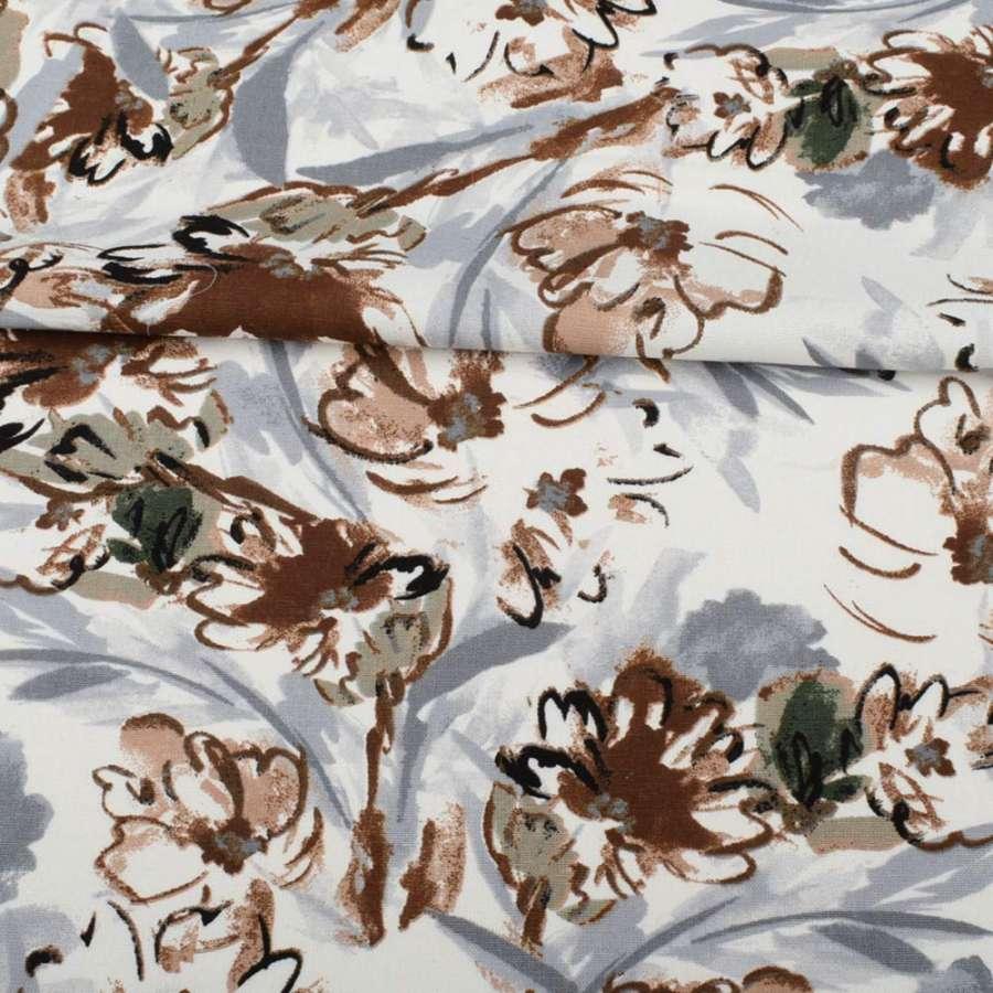 Льон білий, оливково-коричневі, сірі квіти, ш.135