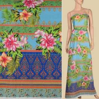 Льон блакитний, кольорові смужки з орнаментом, тропічні квіти, 1-ст.купон, ш.140