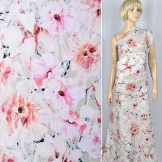 """Лен """"Apanage""""оливковый в бело-розовые цветы ш.140"""
