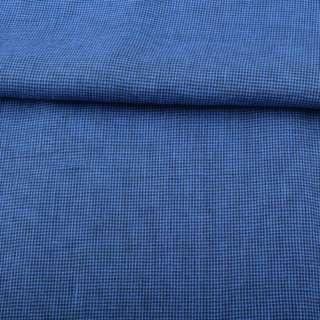 Льон синій в дрібну темно-синю клітку ш.150