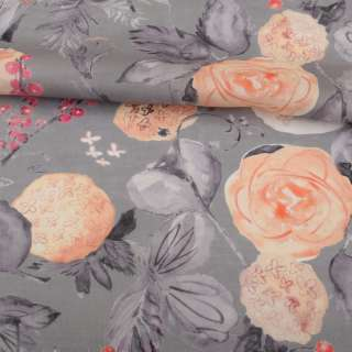 Льон сірий, акварельні персикові і сірі квіти, ш.142