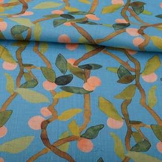 Льон блакитний, гілки з абрикосами і зеленим листям, ш.140